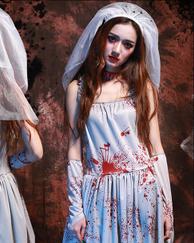 ハロウィン仮装 ゾンビ・コスプレは子供から女性(ナース、花嫁)まで大人気。衣装ほか、メイク用の血のり、カラコンなども。